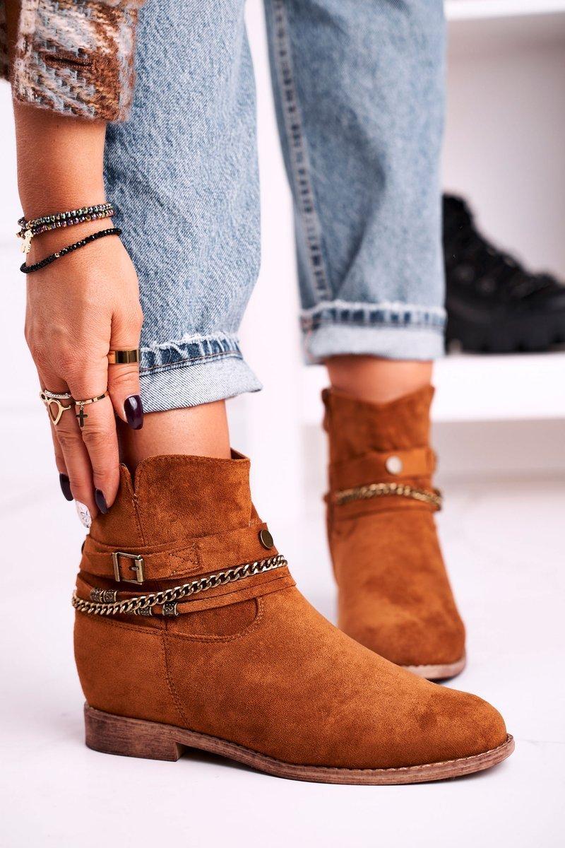 Hnedé semišové topánky na klinovom podpätku - 38