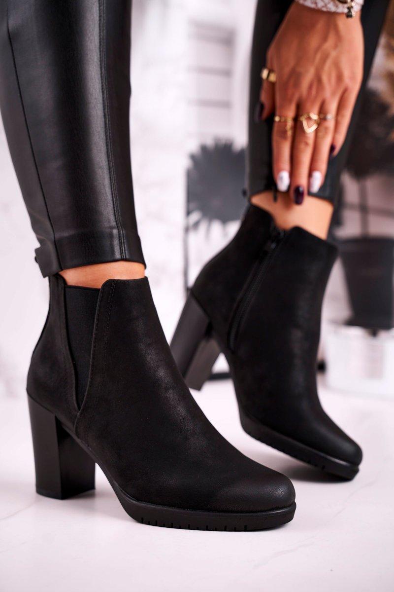 Čierne členkové semišové topánky - 39