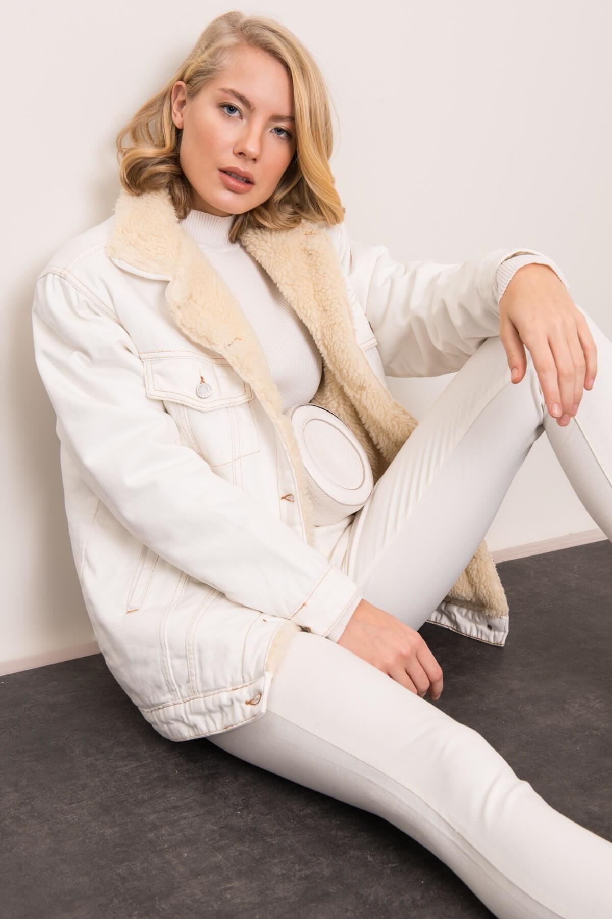Biela zimná rifľová bunda - XS