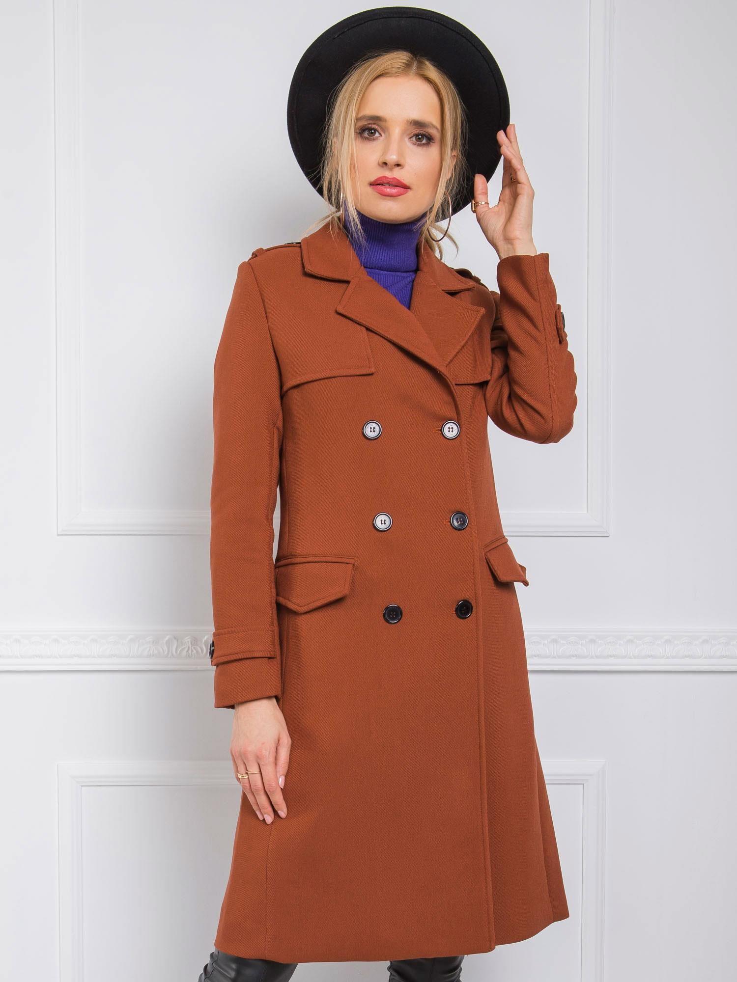 Dlhý hnedý dámsky kabát - S