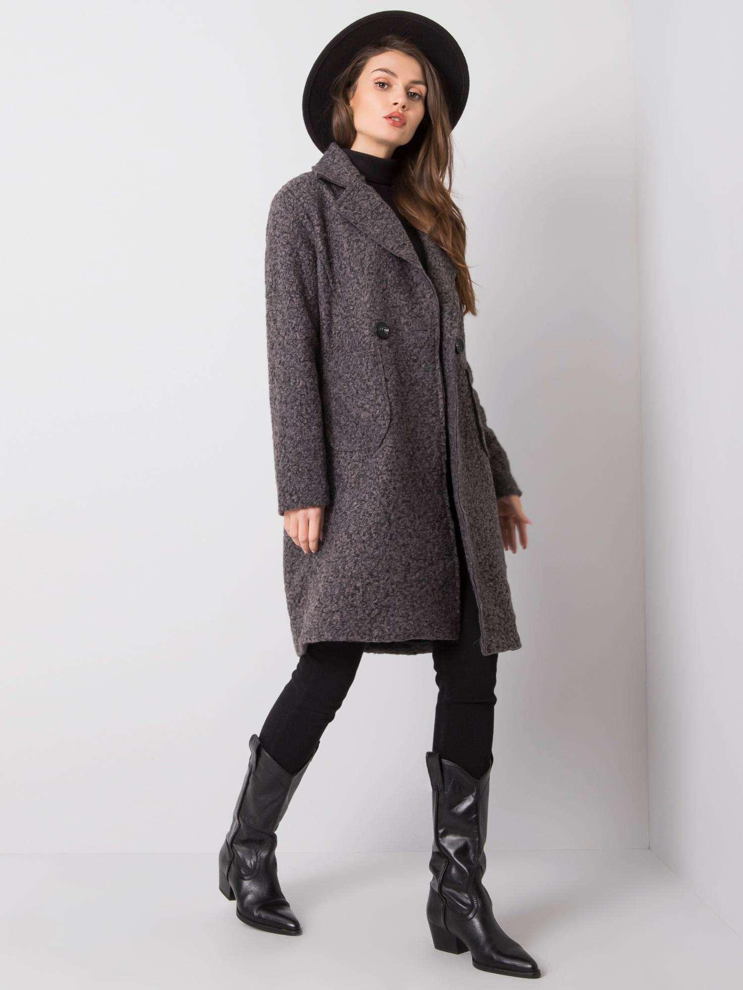 Tmavošedý dlhý kabát s gombíkmi - UNI