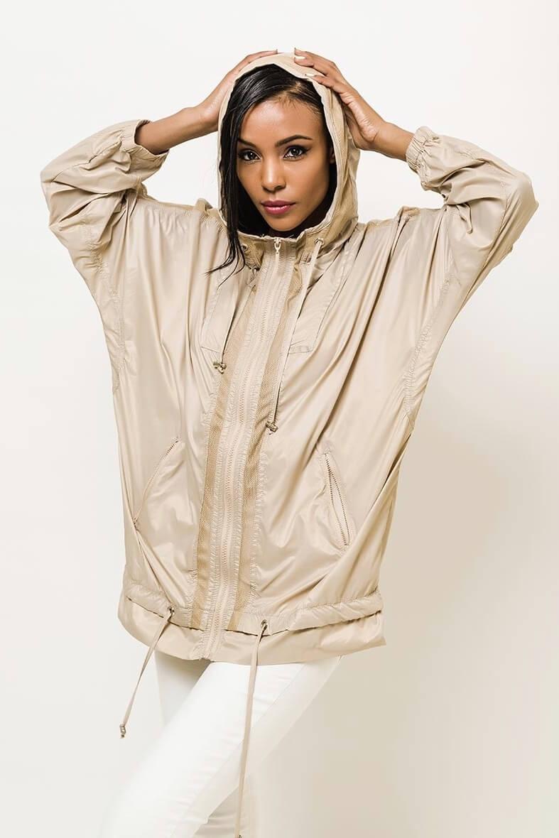 Dámska béžová tenká bunda s kapucňou - S