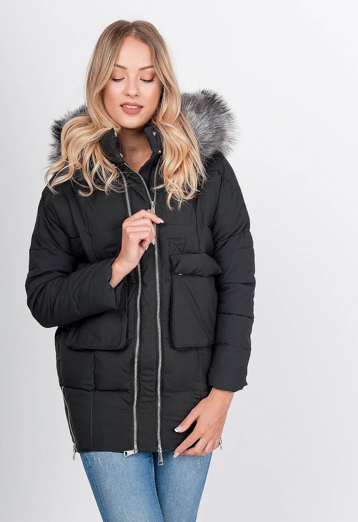 Dámska čierna bunda s dvojitým zipsom