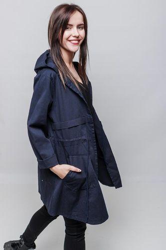 Dámska prechodná tmavomodrá parka bunda s kapucňou