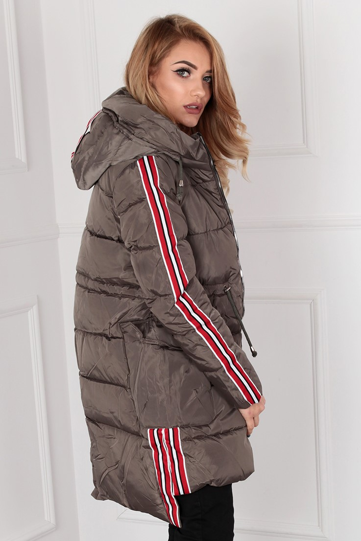 Dámska šedá bunda s kapucňou a pruhmi