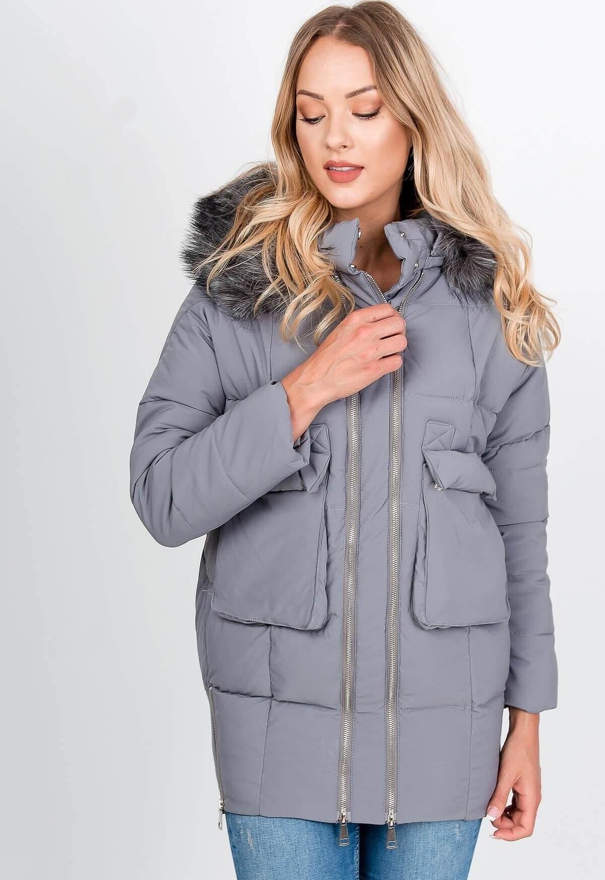 Dámska sivá bunda s dvojitým zipsom