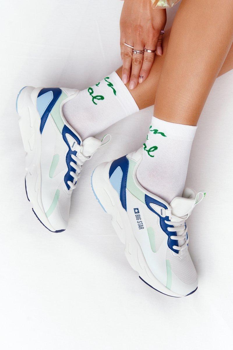 Bielo zelené tenisky na šnurovanie - 36