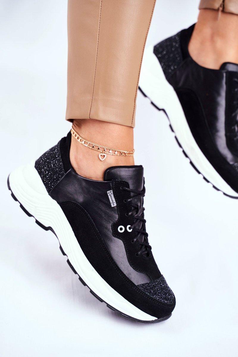 Elegantné čierne tenisky s trblietkami - 36