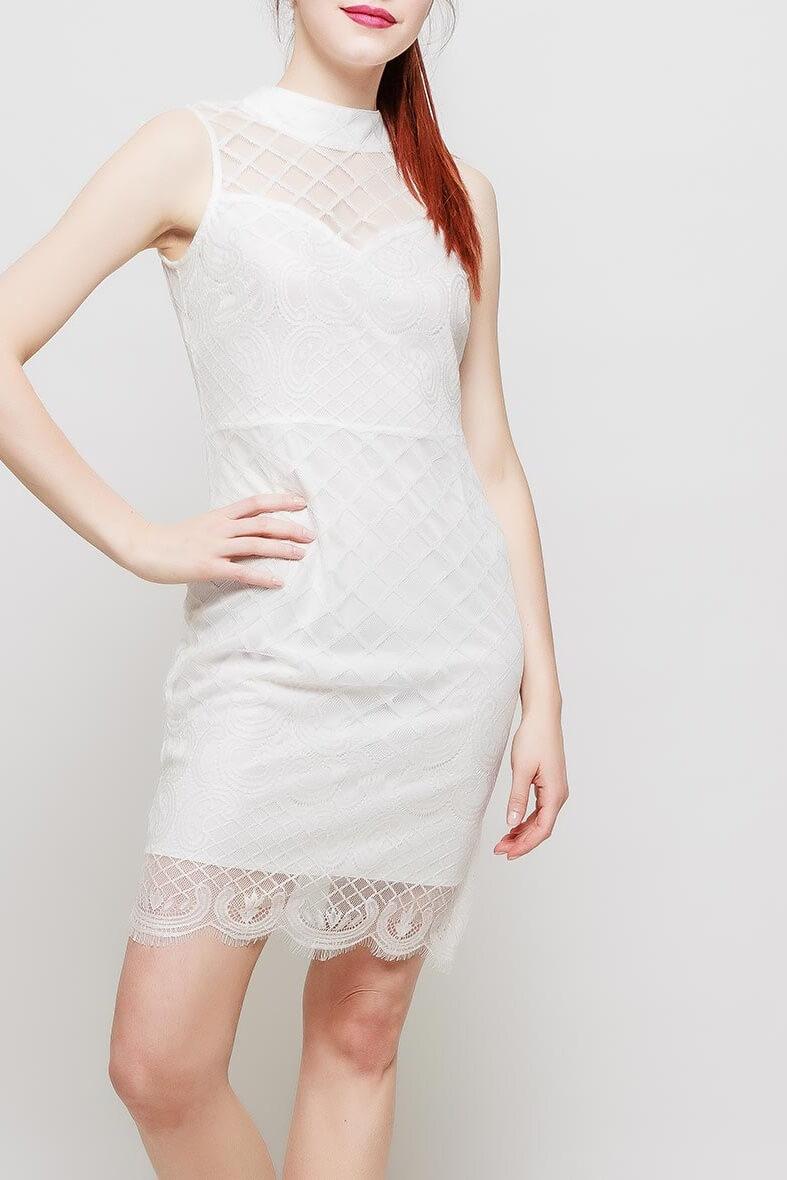 Dámske biele úzke šaty s krajkou - S