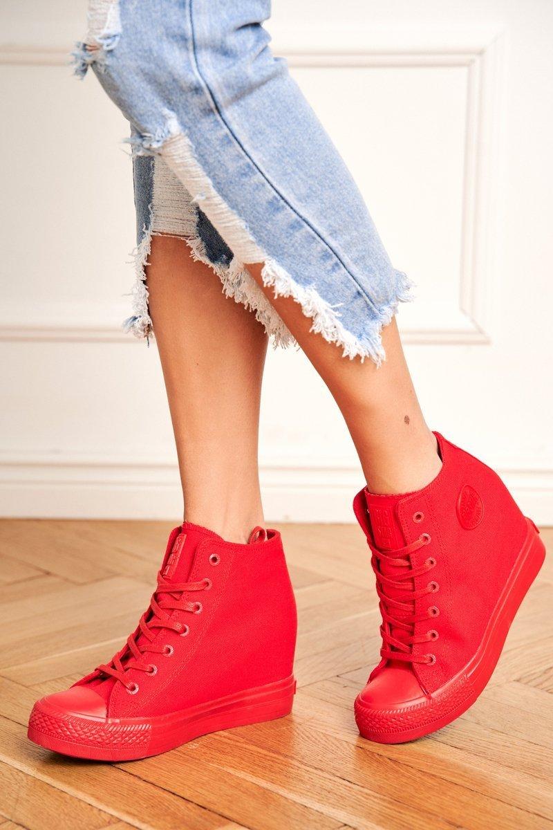Dámske červené tenisky na klinovom podpätku - 36