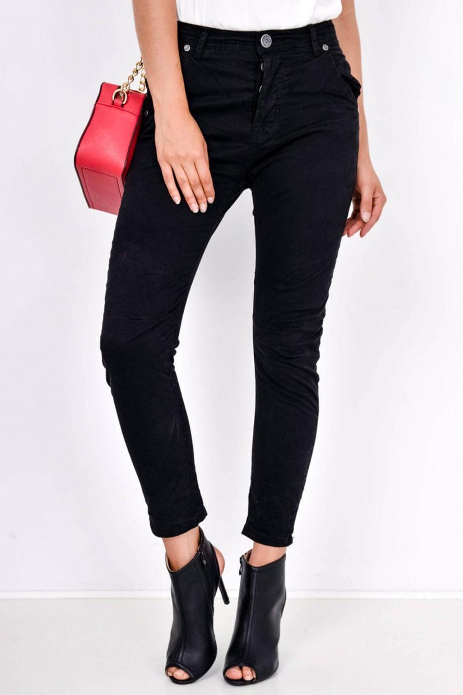 Dámske čierne nohavice s vysokým pásom - M