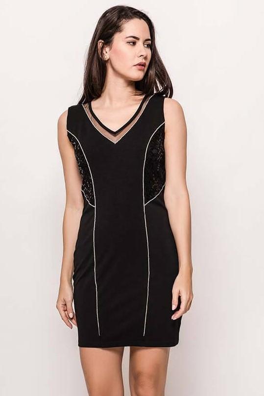 Dámske čierne úzke šaty s flirtami - ROUZIT.SK ccfdc0ead0a