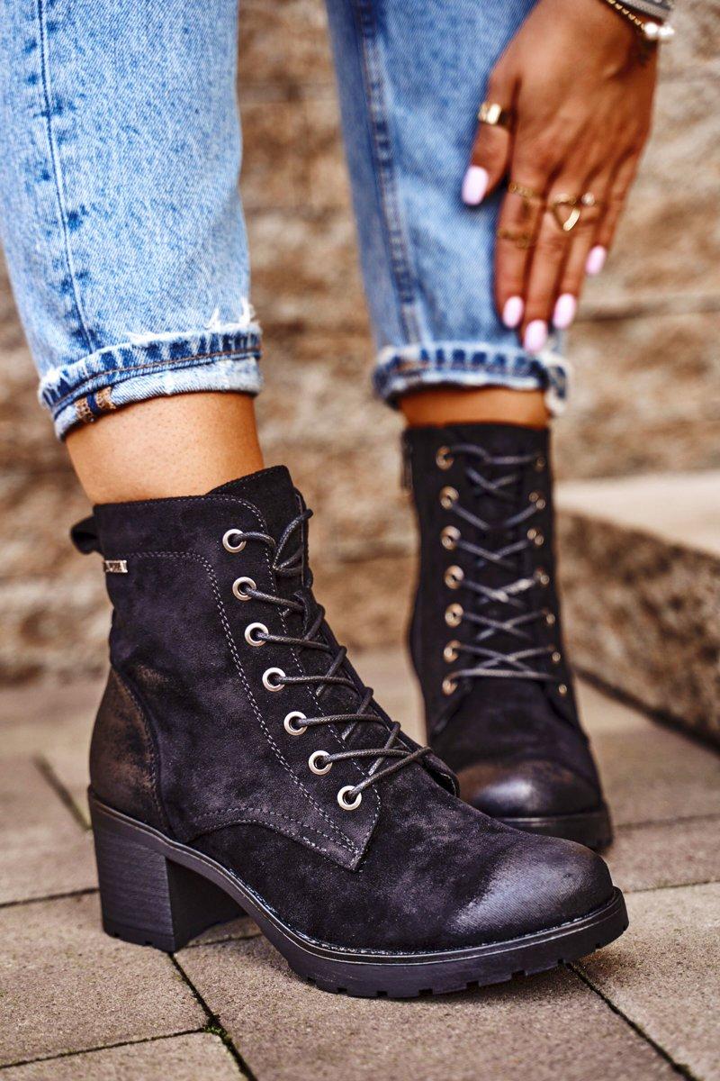 Čierne členkové topánky na šnurovanie - 39