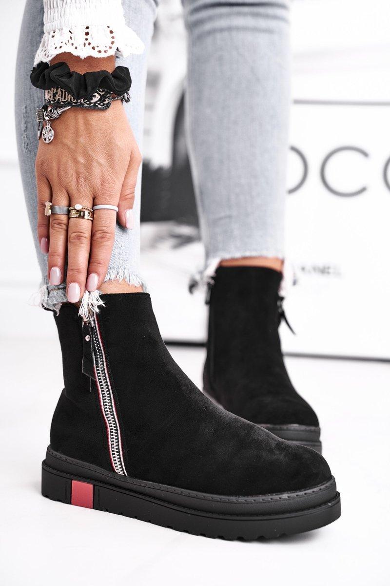 Dámske čierne semišové členkové topánky - 37