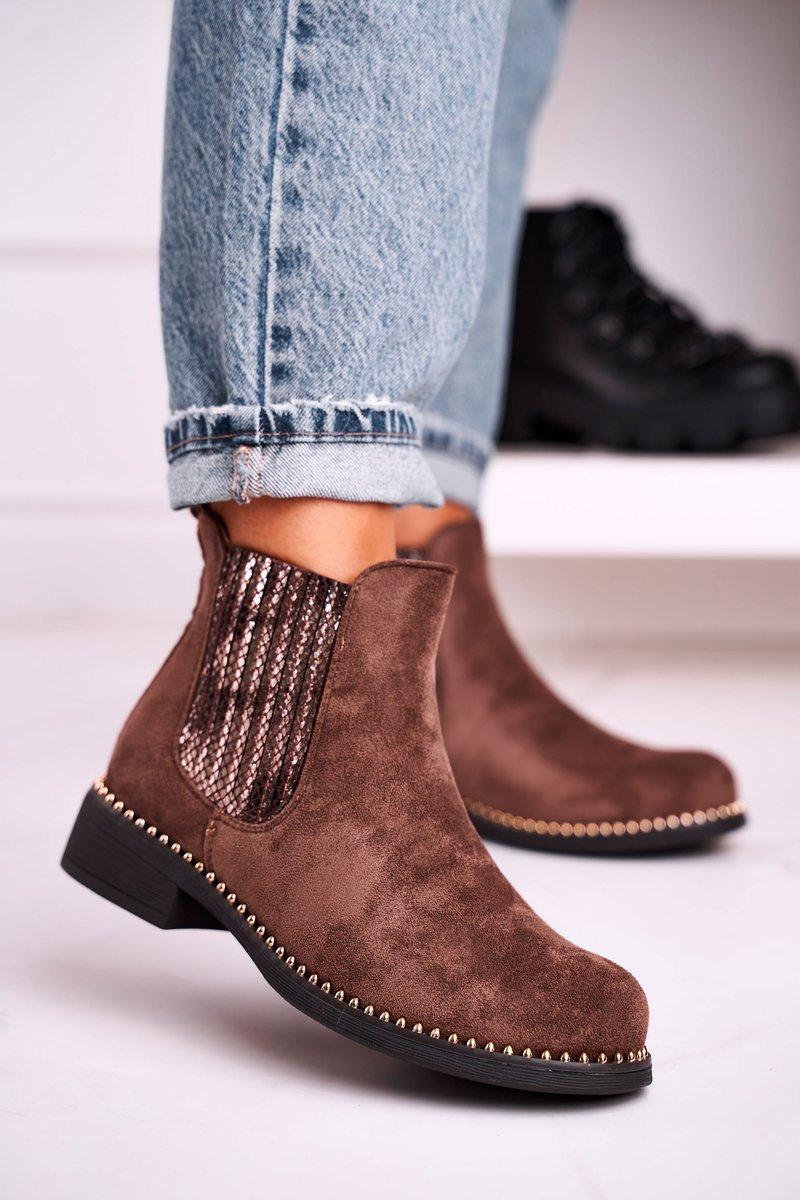 Hnedé semišové členkové topánky - 39