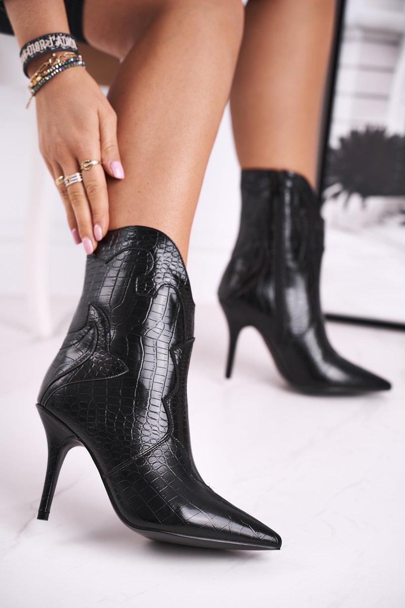 Dámske čierne topánky na vysokom podpätku - 37