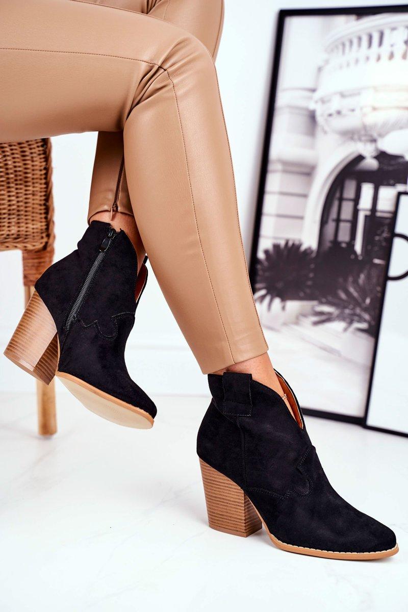 Elegantné čierne členkové topánky - 41