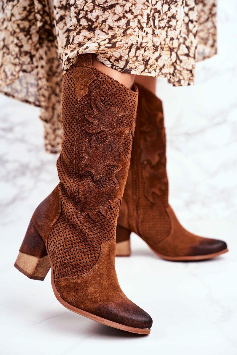 Hnedé topánky s dierkovaným zvrškom - 36