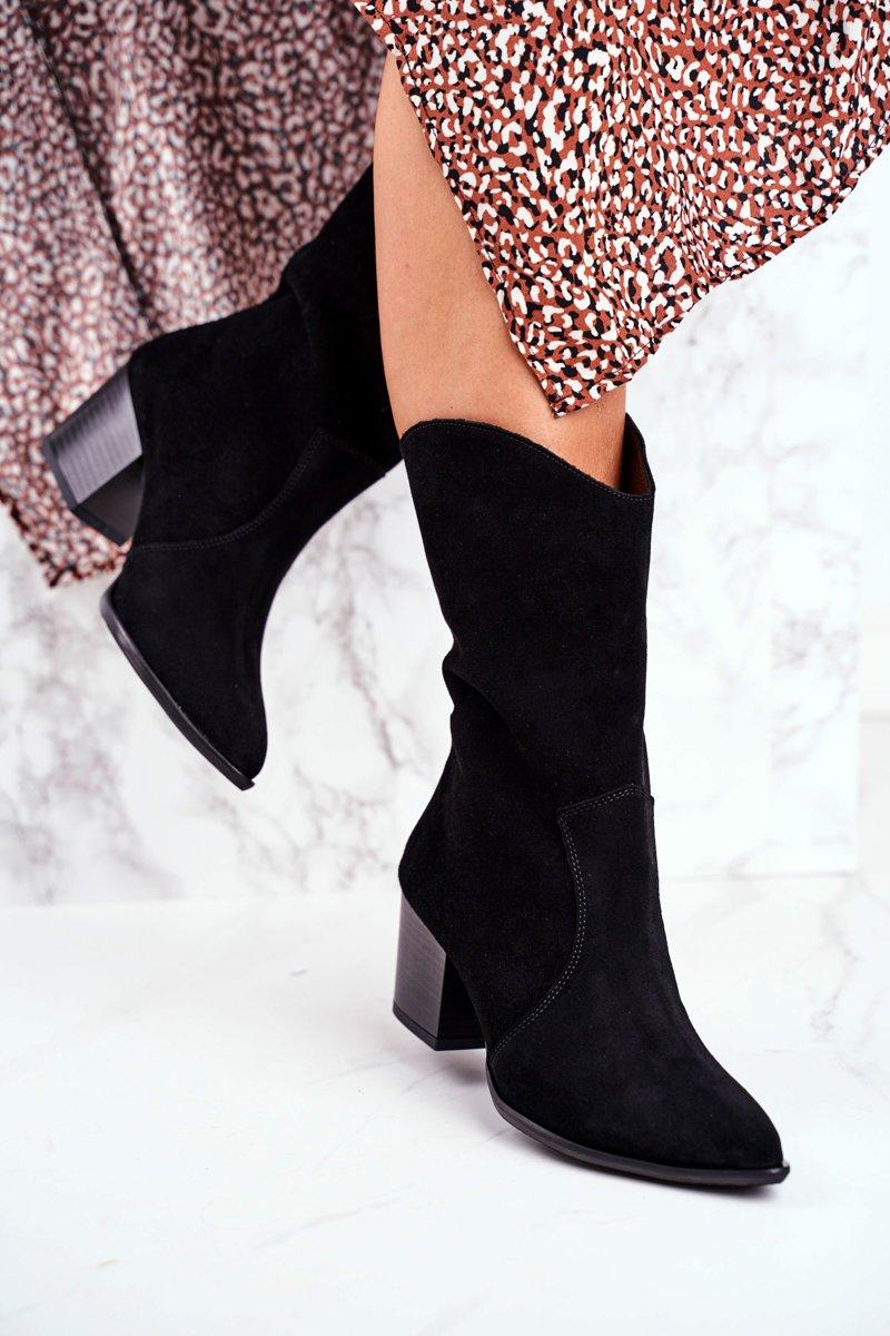 Čierne členkové topánky so špicatou špičkou - 41