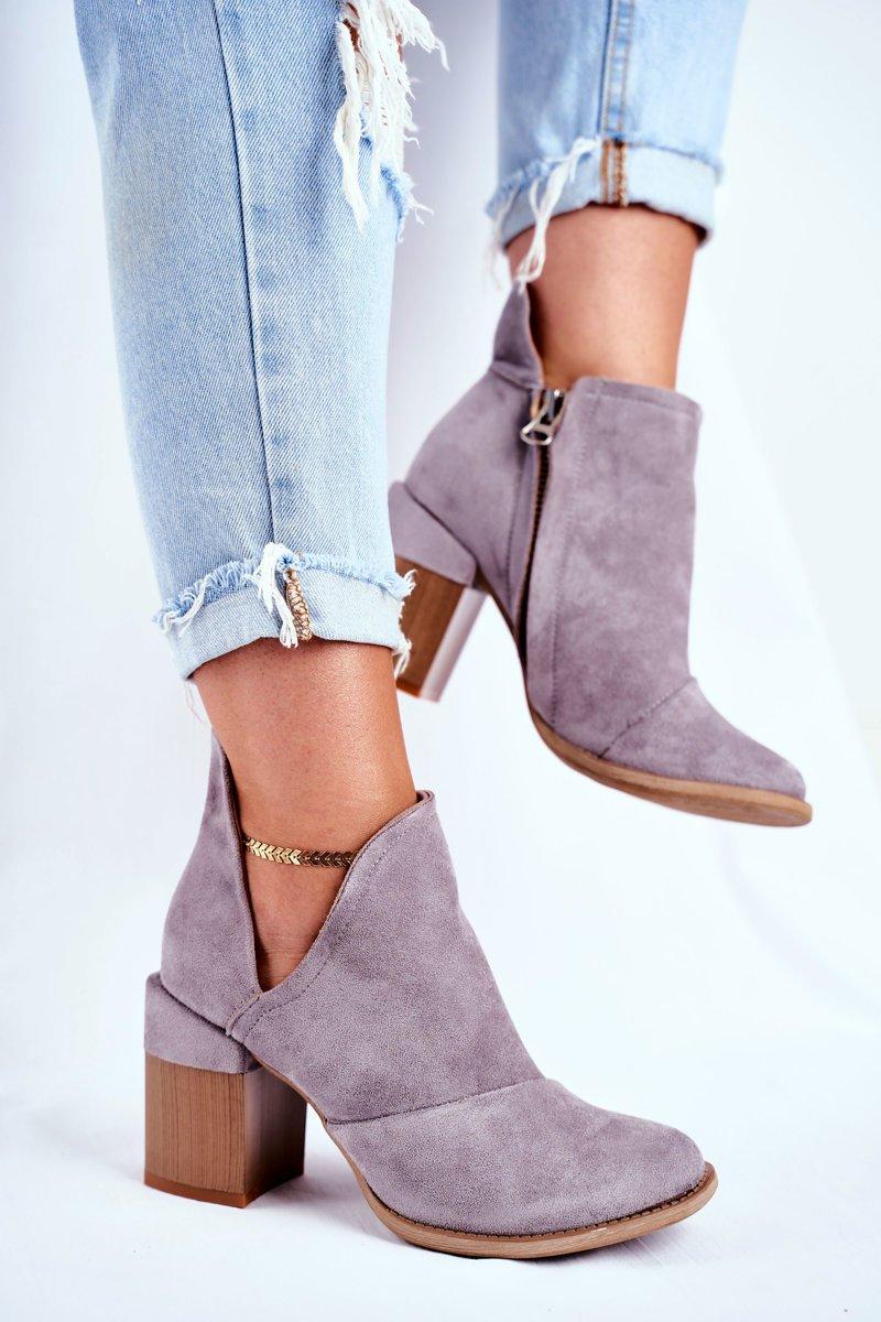 Členkové sivé semišové topánky - 39