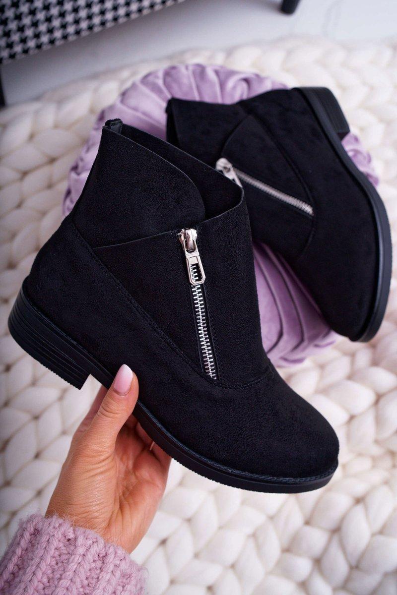 Dámske čierne topánky so zipsom - 36
