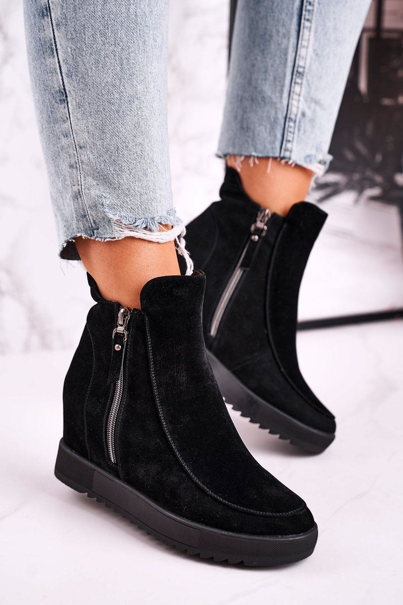 Dámske čierne členkové topánky so zipsom - 38
