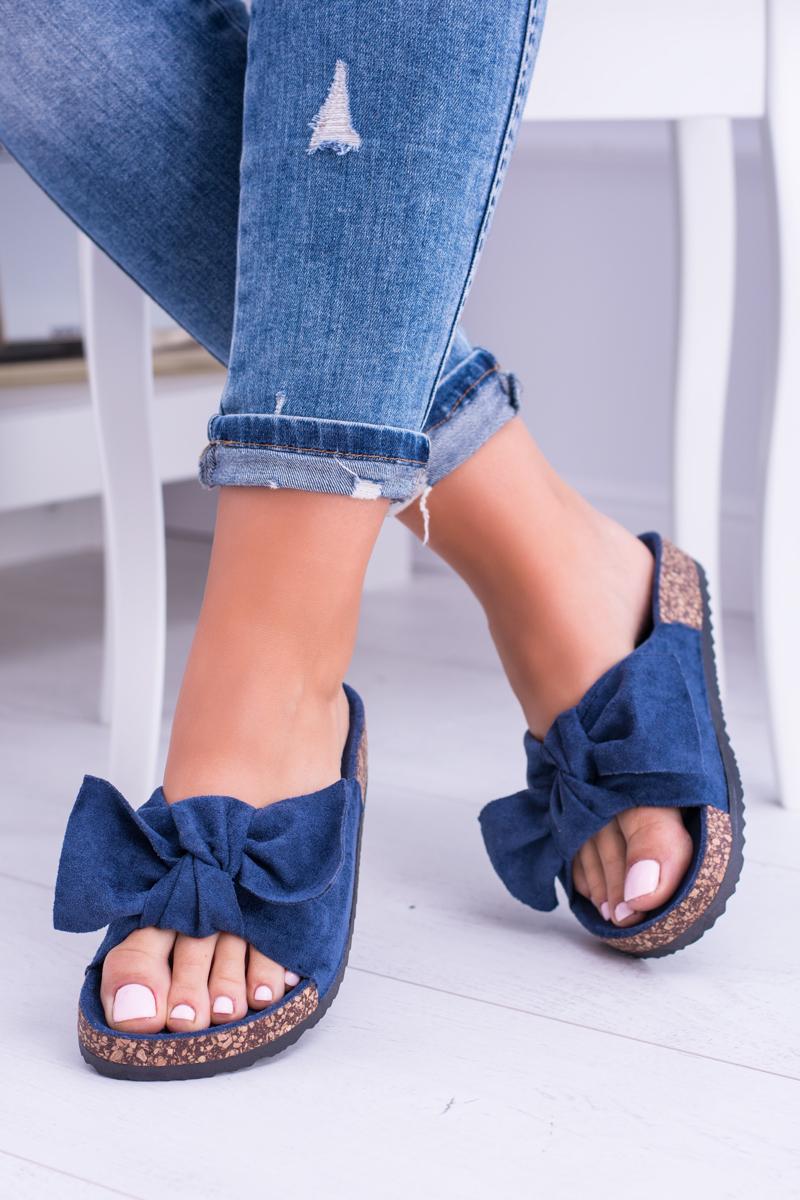 Dámske semišové šľapky v modrej farbe - 41