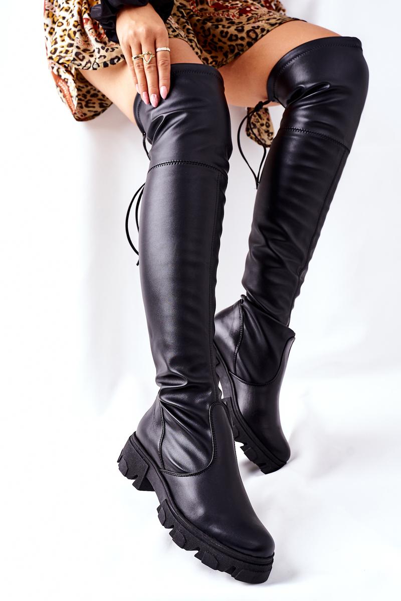 Vysoké dámske čierne čižmy - 39