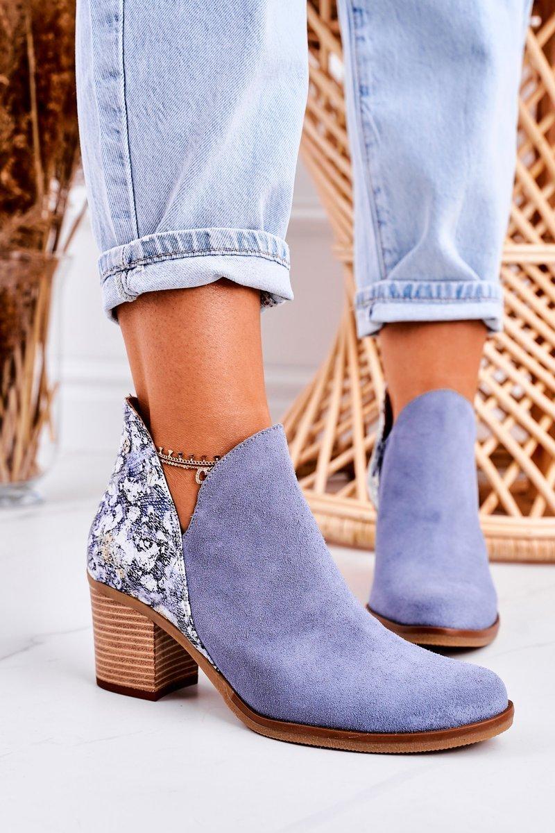 Dámske modré členkové topánky - 39