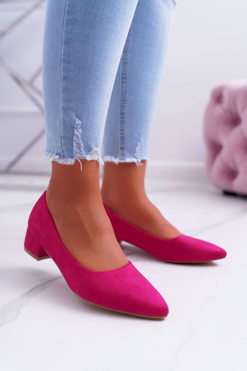 Dámske semišové lodičky v ružovej farbe - 37