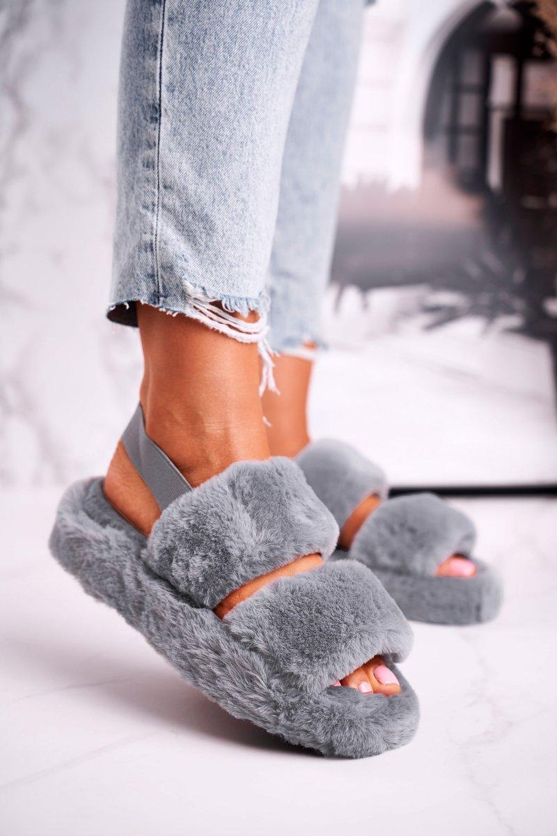 Dámske šedé papuče na platforme - 40