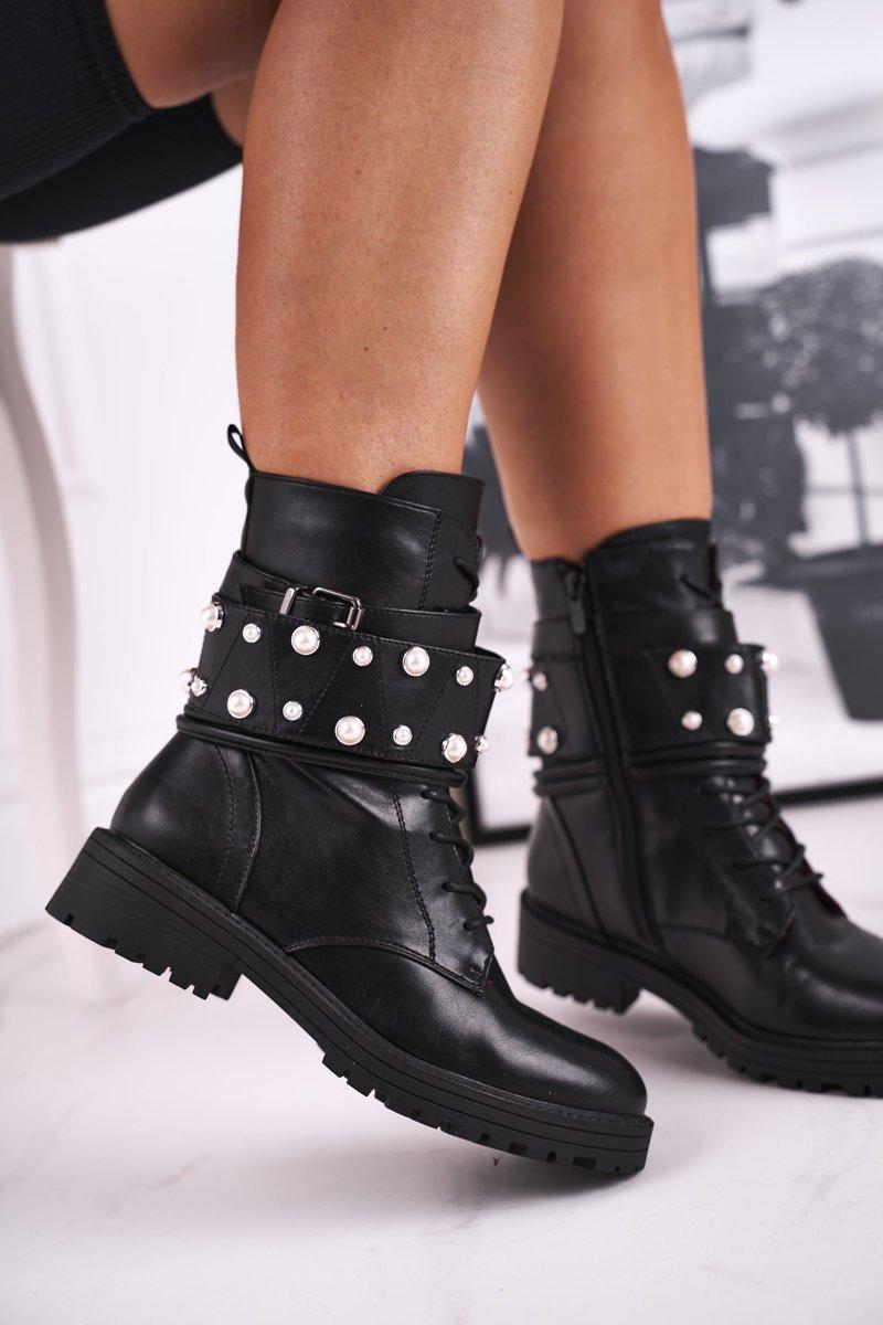 Dámske čierne topánky s ozdobami - 36