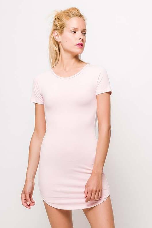 Dámske ružové mini šaty s pásikom