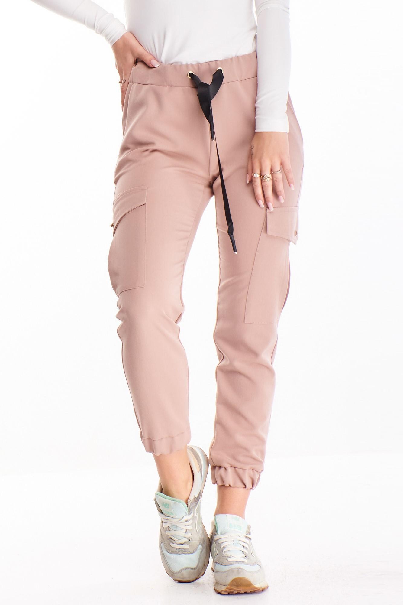 Dámske ružové nohavice s bočnými vreckami - 36