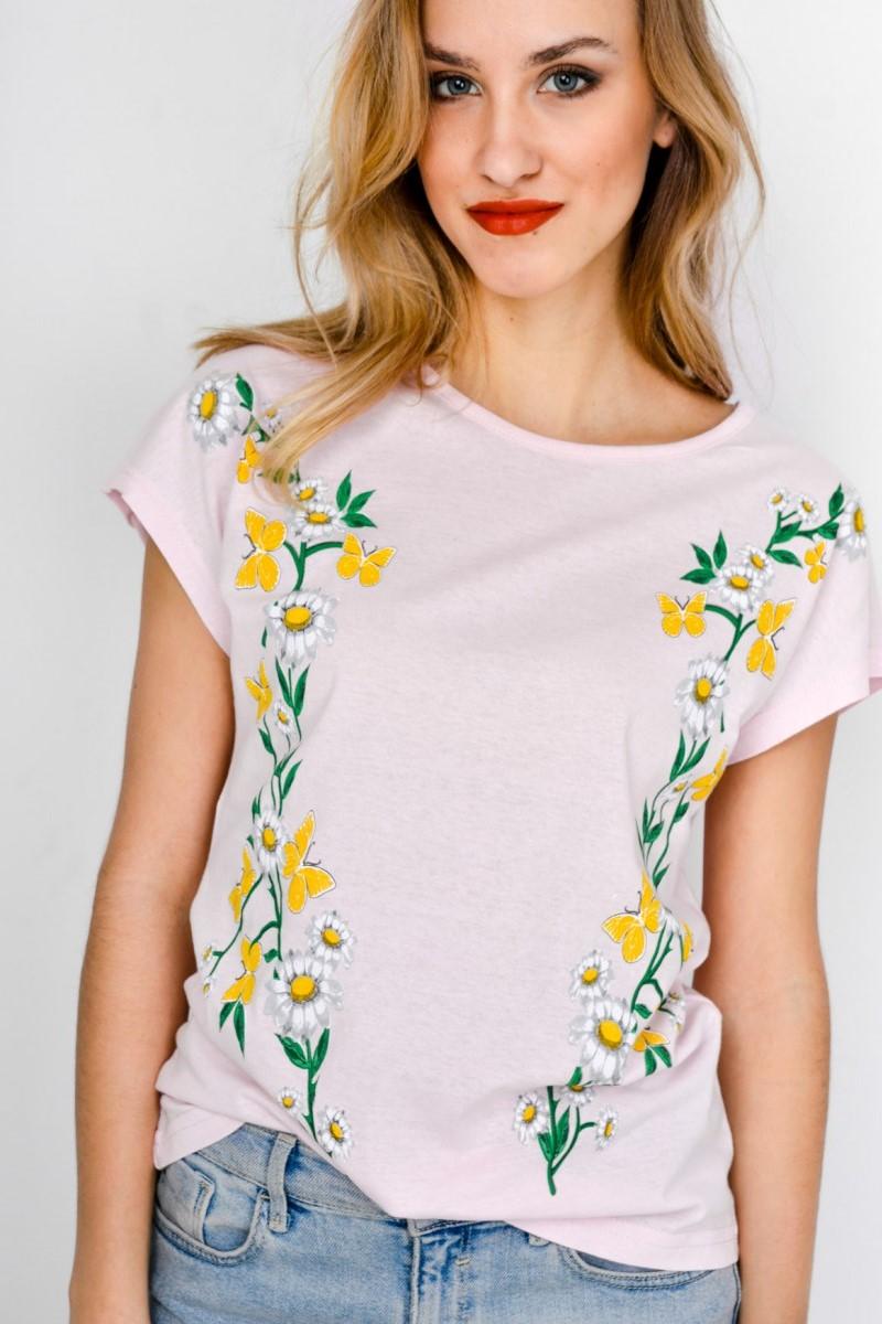Dámske ružové tričko s krátkym rukávom