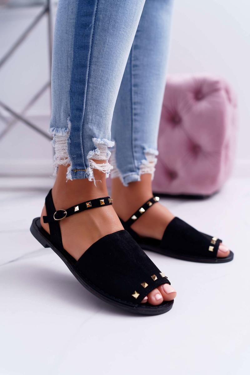Dámske semišové sandále v čiernej farbe - 38