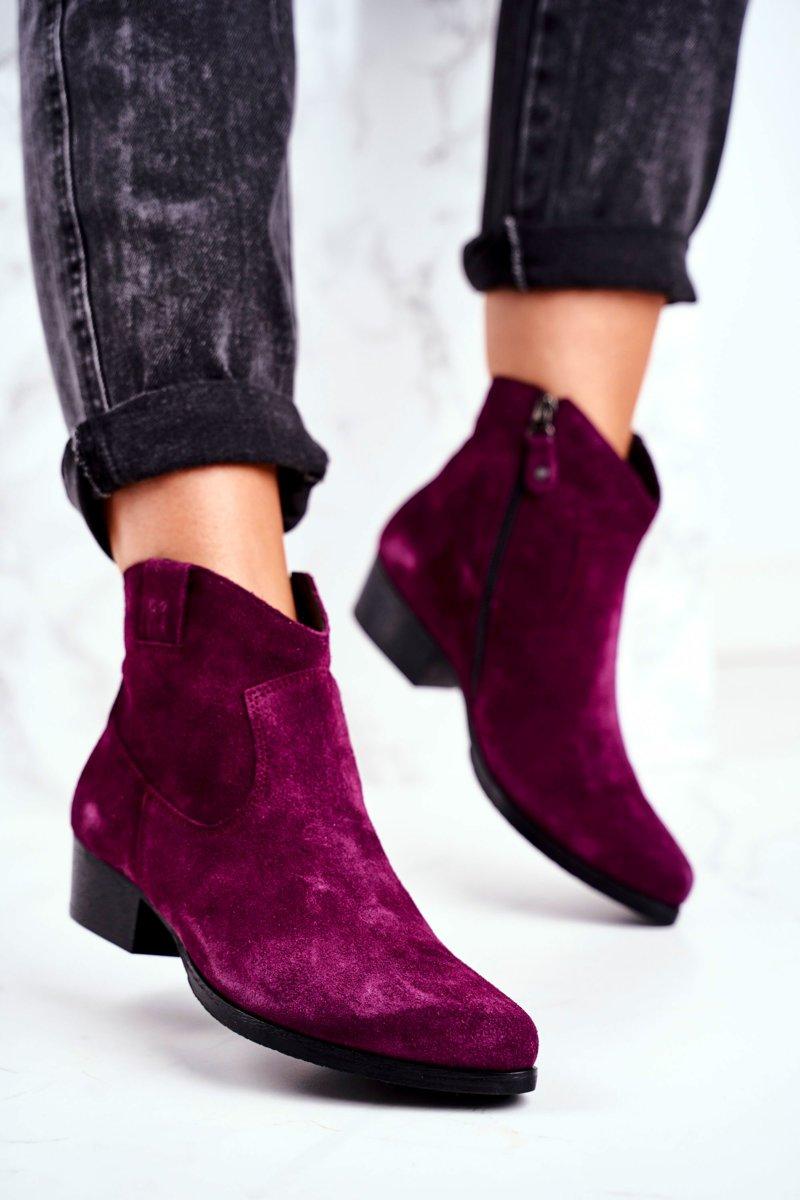 Dámske fialové semišové topánky - 39