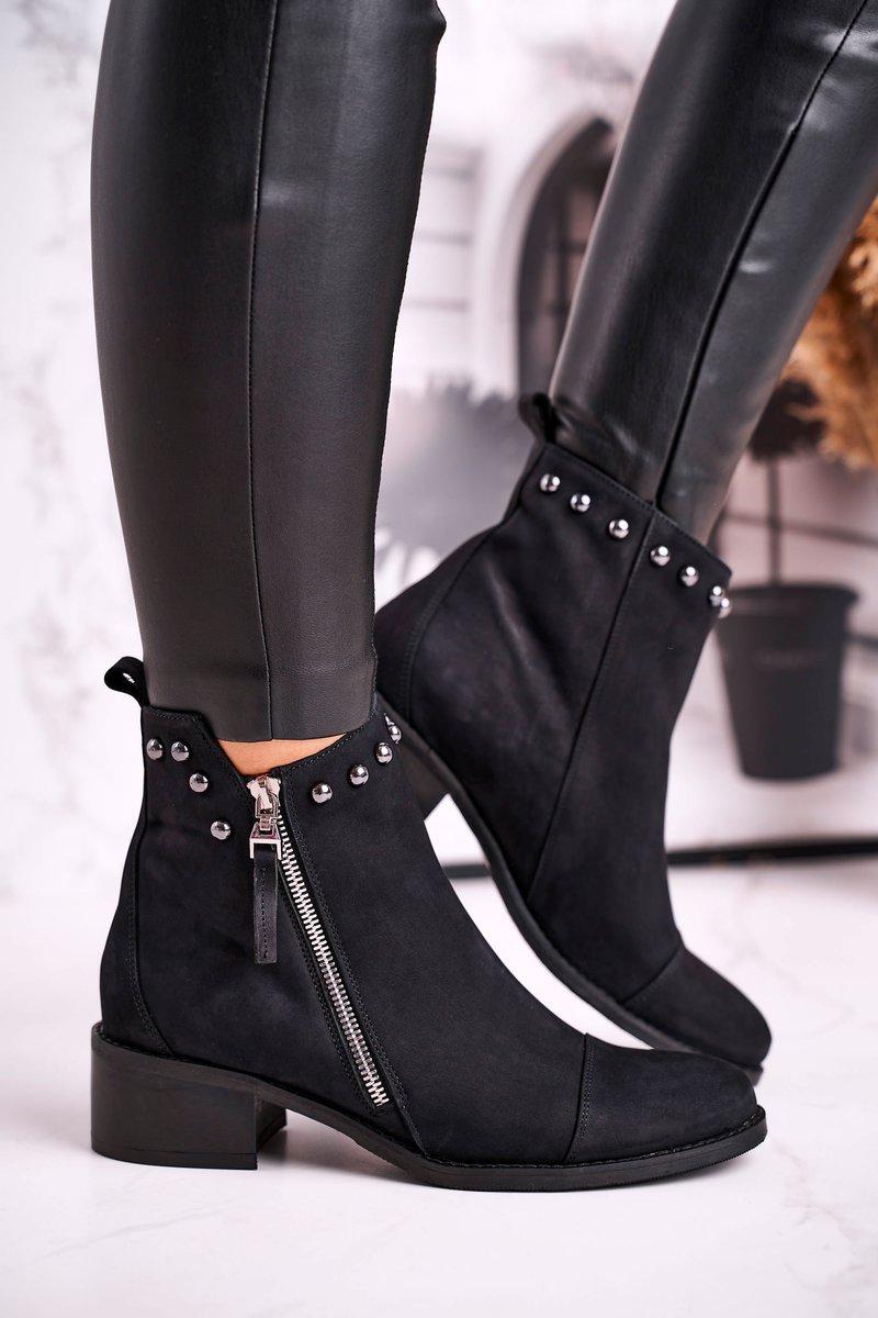 Dámske čierne semišové topánky - 39