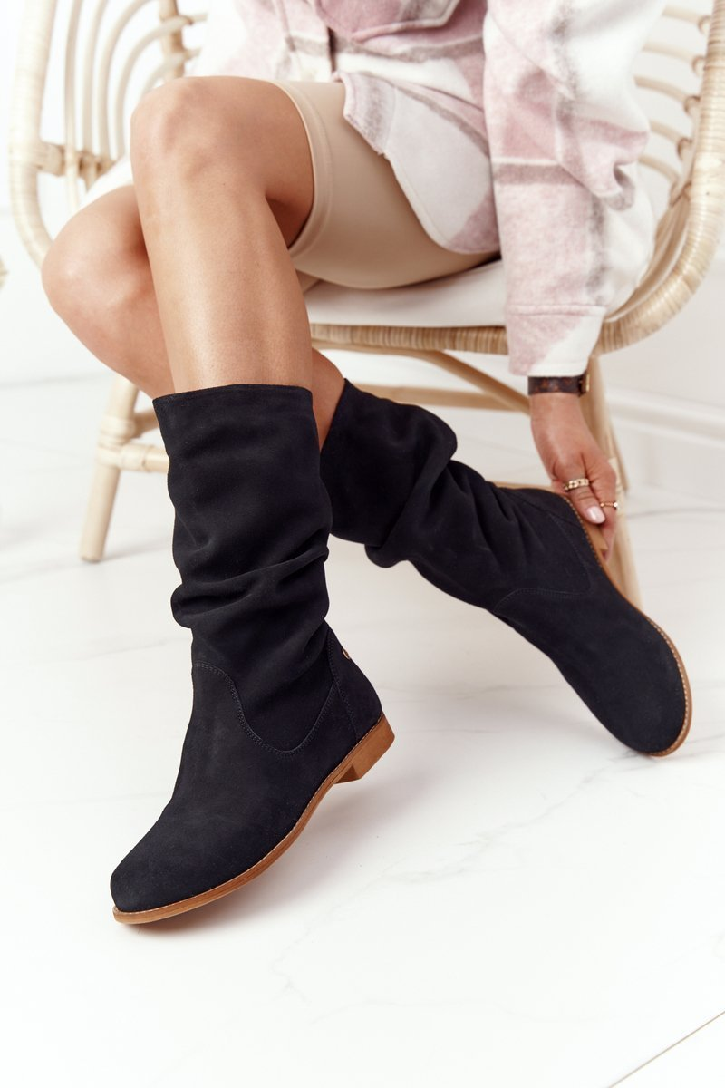 Čierne semišové vysoké topánky - 39