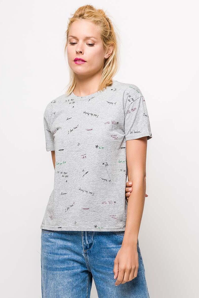 Dámske sivé tričko s potlačou - M