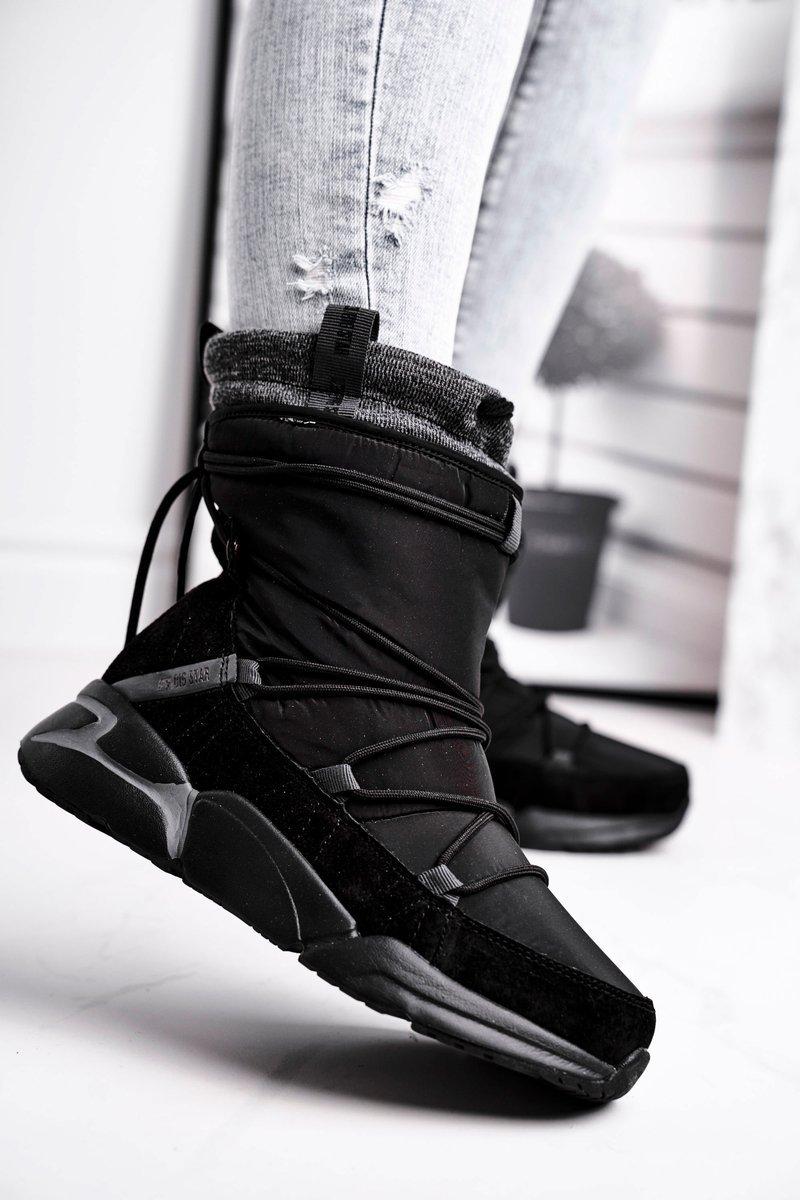 Dámske čierne snehové topánky na šnurovanie - 36