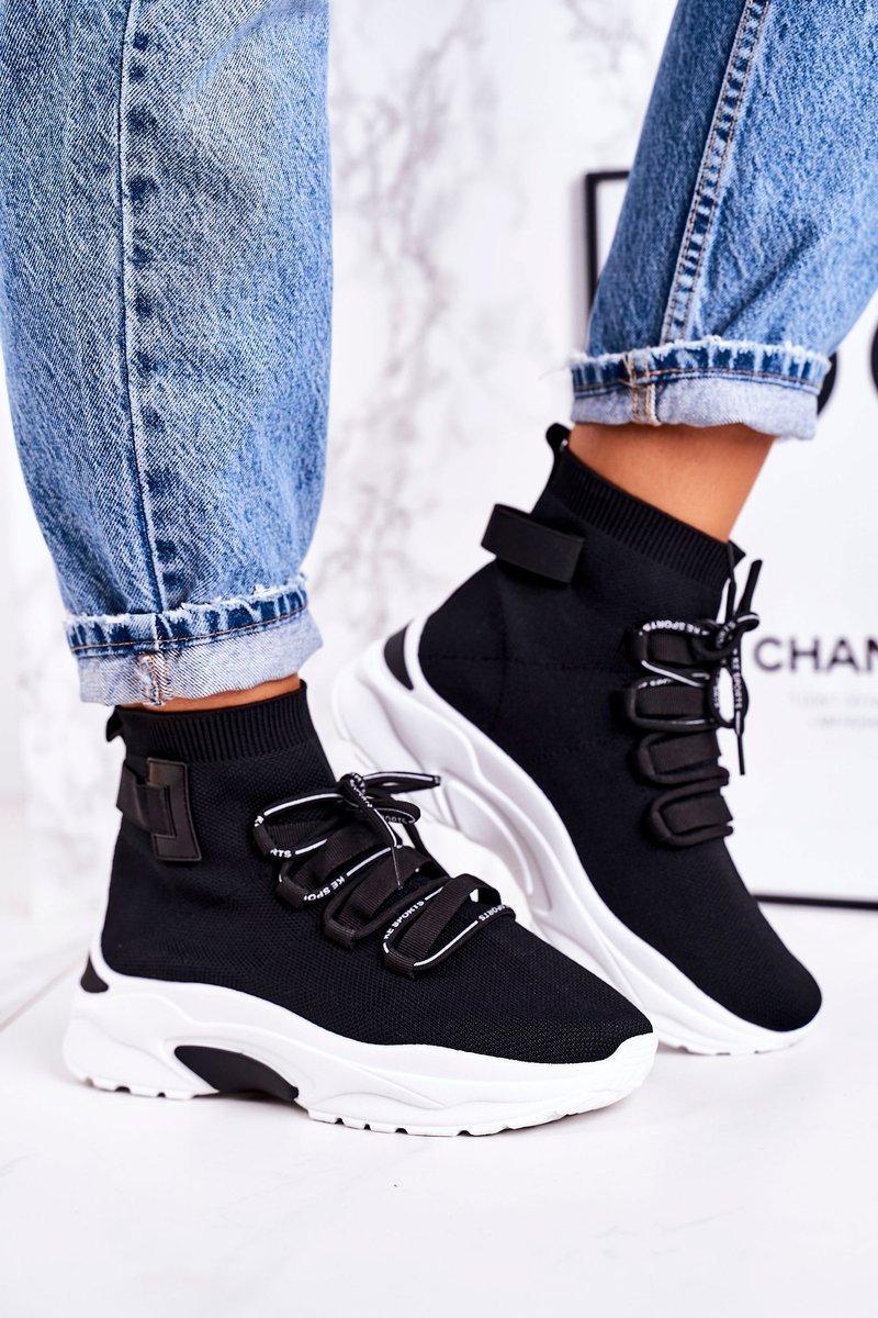 Čierne ponožkové tenisky na šnurovanie - 37