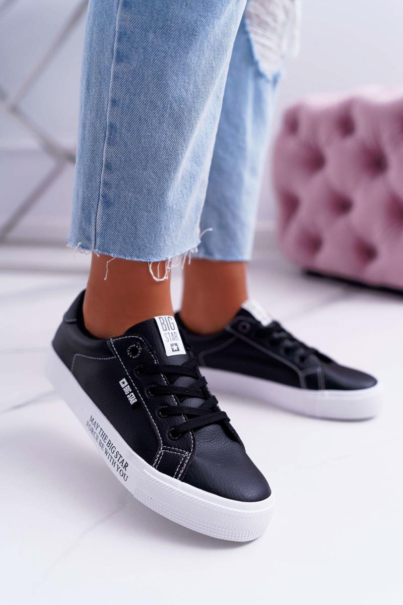 Pohodlné dámske kožené tenisky v čiernej farbe - 37