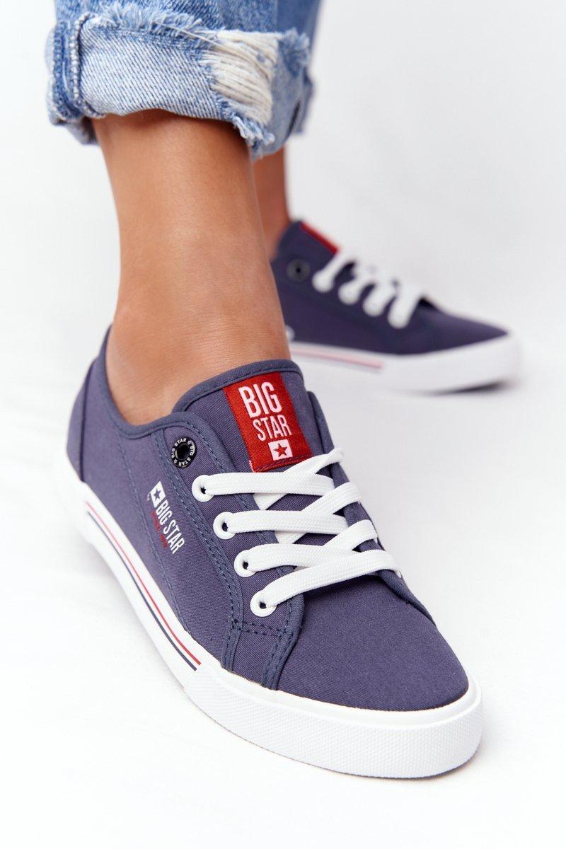 Tmavo modré tenisky na šnurovanie - 37