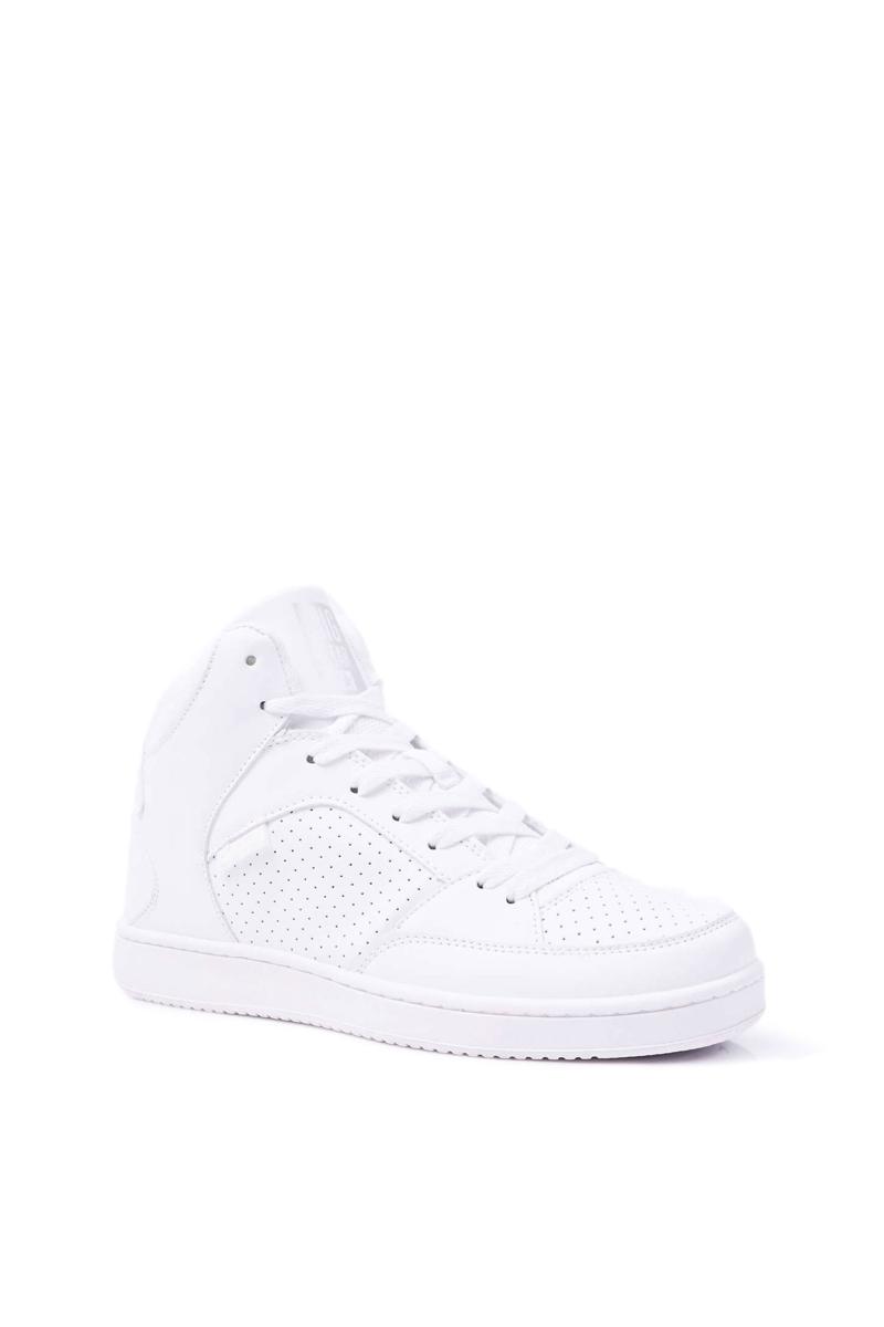 Pohodlné dámske členkové kožené tenisky v bielej farbe - 40