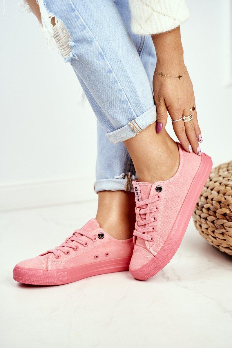 Dámske pohodlné tenisky v ružovej farbe s protišmykovou podrážkou - 41