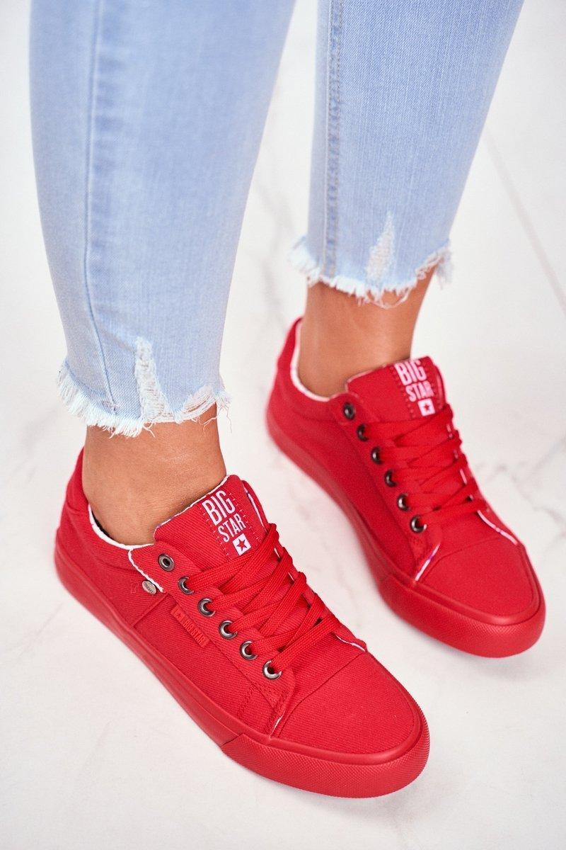 Pohodlné dámske tenisky v červenej farbe s protišmykovou podrážkou - 40