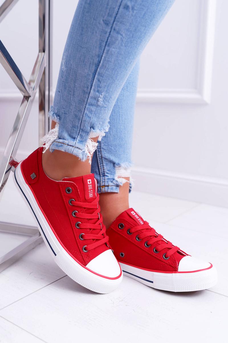 Pohodlné dámske tenisky v červenej farbe - 37