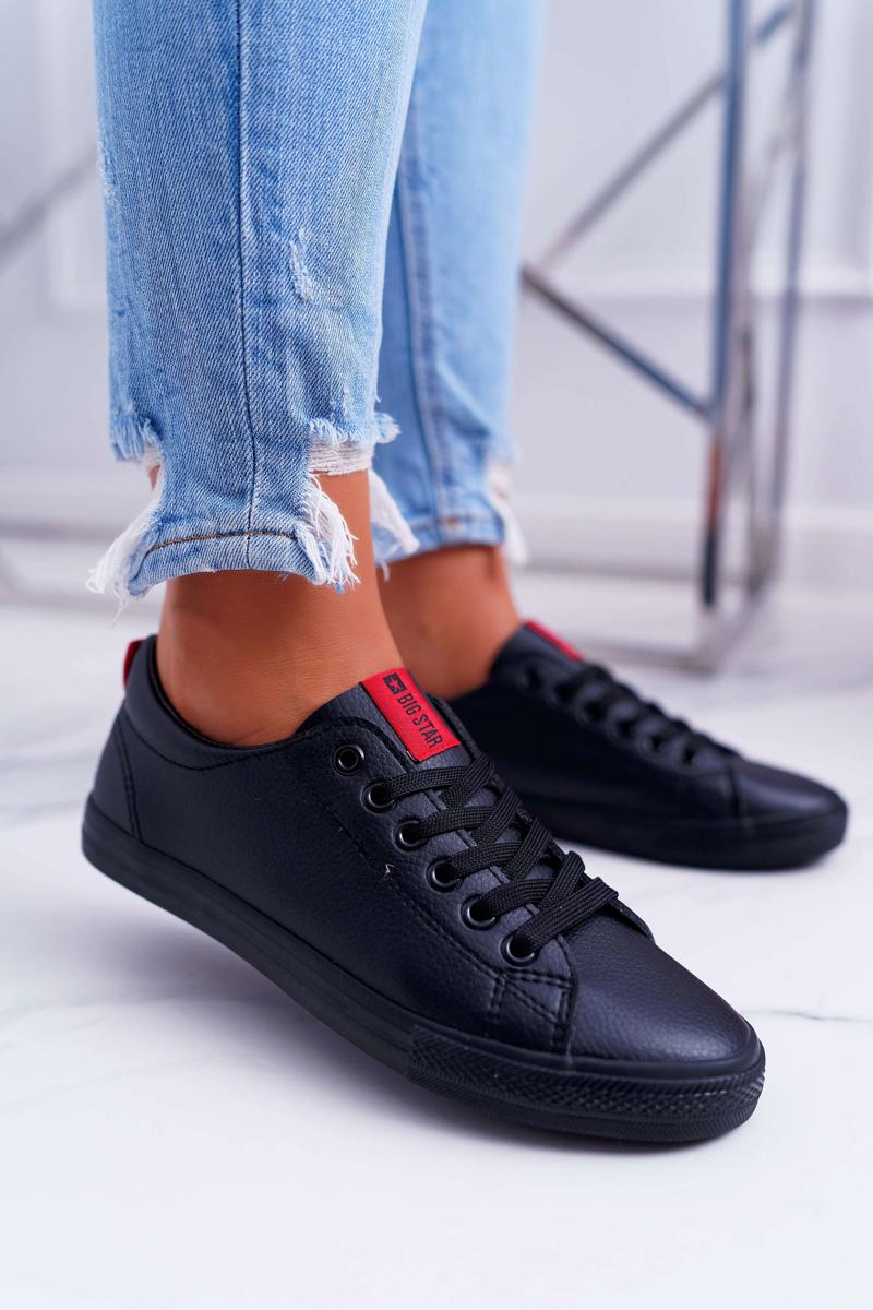 Pohodlné dámske kožené tenisky v čiernej farbe - 41