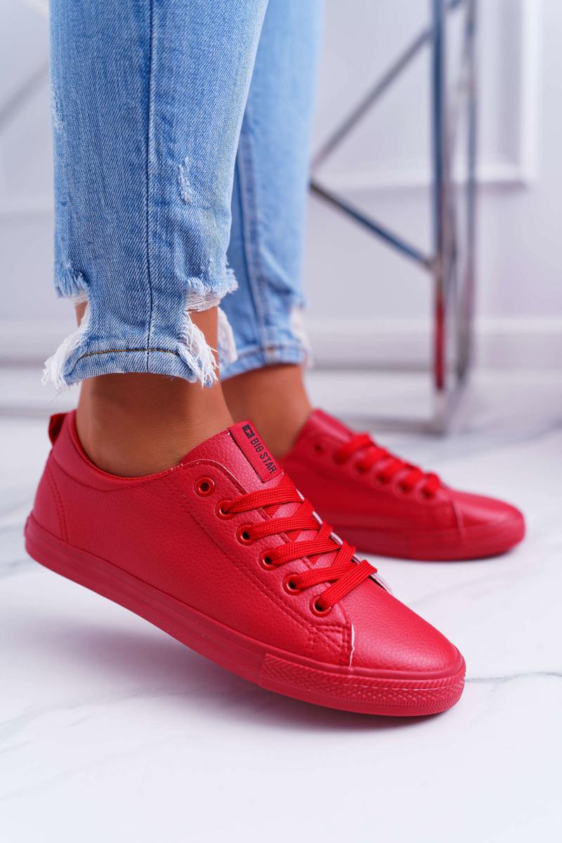 Pohodlné dámske kožené tenisky v červenej farbe - 37